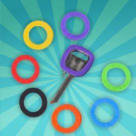 8 stuks multi-kleur rubber sleutelringen/sleutelhoes