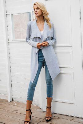 Elastisch Vest Gebreide jas met Lange Mouwen