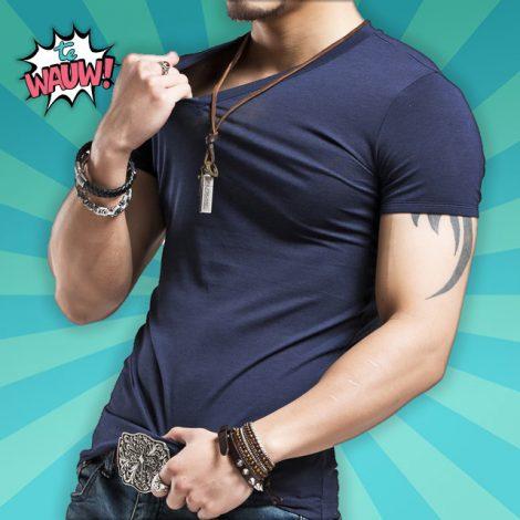 Elastische v-hals shirt voor mannen