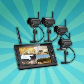 Beveiligingscamera set met 4 Draadloze waterdichte cameras en 7 inch Monitor