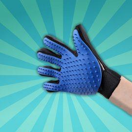 Handschoen voor kattenharen of voor vacht verzorging van de hond