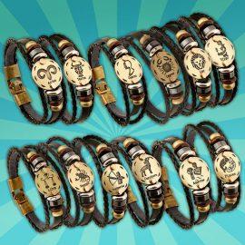 Sterrenbeeld armband leer horoscoop